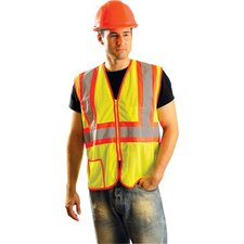 Yellow And Orange Two Tone Mesh ANSI Class 2 Vest With Silver Reflective Tape