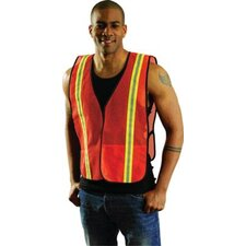 "Large Orange Mesh Safety Vest With 1 3/8"" 2-Tone 3M™ Scotchlite™ Reflective Tape"
