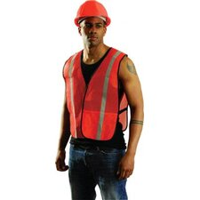 "Orange Mesh Safety Vest With 1"" Yellow Silver Glass Bead Reflective Tape (Non ANSI Compliant)"