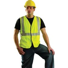 OccuLux® High Visibility Fluorescent Yellow Flame Retartdant Single Band Traffic Vest With Hook And Loop Closure And 3M™ Scotchlite™ Reflective Stripes