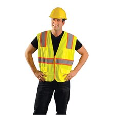 "Yellow Polyester Mesh Class 2 Compliant Surveryor's Vest With Front Zipper Closure, 10 Pockets And 2"" Tricot Backed Silver Reflective Tape"