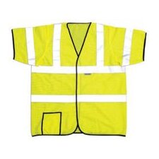 "OccuLux® Yellow High Visibility Short Sleeve Mesh Vest With 2"" 3M™Scotchlite™ Reflective Tape, Hoop And Loop Closure"