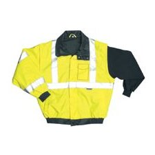 OccuLux® High Visibility Fluorescent Yellow Bomber Jacket With Zip-Out Fleece Jacket And 3M™ Scotchlite™ Reflective Tape