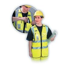 Large High Visibility Yellow OccuLux® Multi-Pocketed Zipper Vest W/3M™ Scotchlite™ Reflective Tape (ANSI Class 2)