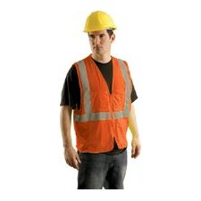 Hi Viz Orange Class II Economy Mesh Surveryor's Vest With Silver Stripes