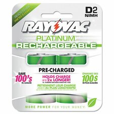 Platinum Rechargeable D NiMH Battery (2 Pack)