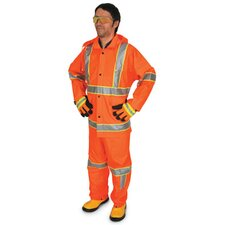 Fluorescent Orange Luminator 0.35 mm Polyester Rain Suit With Welded Seams, Detachable Drawstring Hood, Snap Wrists, Ankles and Waist, Reinforced Crotch, Reflective Striping, Plain Back, 2 Patch Pockets With Flap,And Elastic Insert Adjustable Suspenders