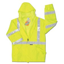 "<strong>River City</strong> Hi-Viz Lime Luminator PRO Grade Polyester Class III Rain Jacket With Taped Seams, Attached Drawstring Hood, Elastic/Velcro Wrists, Polyester Liner, Zipper Pockets With Storm Flap, Inside Zipper Pocket And 2"" WHite VInyl Reflective Stripes"