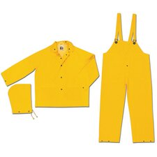 Yellow Classic 0.35 mm PVC On Polyester Rain Suit With Welded Seams, Storm Flap Over Plastic Snap Closure, Detachable Drawstring Hood, Black Plastic Tak Up Snaps At Wrists And Ankles, Reinforced Crotch, Plain Back, 2 Patch Pockets With Flaps And s
