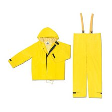 Yellow Hydroblast 0.28 mm Nylon Rain Suit With Welded Seams, Storm Flap Over Fly Front Closure, Attached Drawstring Hood, Closure Wrists, Velcro Closure Ankles, Snap Waist, Reinforced Crotch, Flame Retardant, And Elastic Adjustable Suspenders