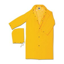 "Yellow 49"" 0.35 mm Polyester Rain Coat With Welded Seams, Storm Flap Over Snap Front Closure, Detachable Drawstring Hood, Snap Wrists, Plastic Grommet And Underarm Air Vents"
