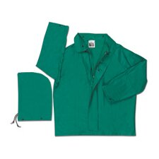 Green 0.42 mm Polyester Flame Retardant Chemcial Resistant Jacket With Welded Seams, Detachable Drawstring Hood, With Inner Sleeves, Plain Back, And No Underarm Vents