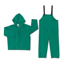 Green Dominator 0.42 mm Polyester Flame Retardant Chemcial Protection 2 Piece Suit With Welded Seams, Snap Ankles, Attached Drawstring Hood, With Inner Sleeves, Reinforced Crotch, Plain Back, No Underarm Vents And Full Elastic Adjustable Suspenders