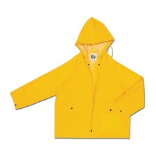 Yellow Classic 0.35 mm Polyester Rain Jacket With Welded Seams, Zipper Closure, Attached Drawstring Hood, Snap Wrists, Storm Fly Front With 2 Snaps, Cape Ventilated Back, 2 Patch Pockets With Flap With Black Plastic Snap Closure And Underarm Air Vents