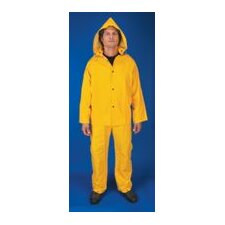 Yellow Classic 0.35 mm PVC And Polyester Rain Suit With Welded Seam