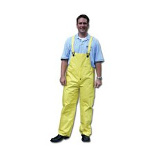 Yellow 0.28 mm Nylon Rain Bib Overalls With Welded Seams, Snap Fly Front Closure, Snap Wrists, Snap Ankles, Reinforced Crotch, Elastic Insert Adjustable Suspenders And
