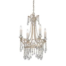 Tricia Four Light Chandelier in Vintage Silver