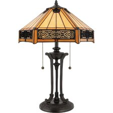 "Indus Tiffany "" H Table Lamp with Bell Shade"