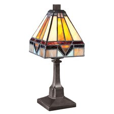 "Tiffany 11.5"" H Table Lamp with Square Shade"