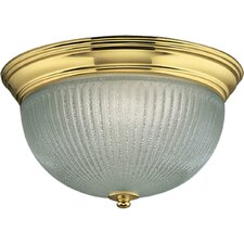 <strong>Progress Lighting</strong> Polished Brass Clear Ribbed Glass Flush Mount