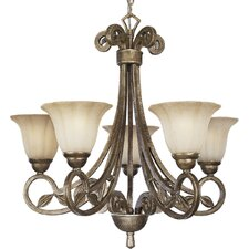 Le Jardin 5 Light Biscay Crackle Chandelier
