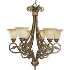 Le Jardin 6 Light Biscay Crackle Chandelier