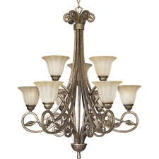 Le Jardin 9 Light Biscay Crackle Chandelier