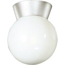 Cast Aluminum Incandescent 1 Light Globe Semi-Flush Mount