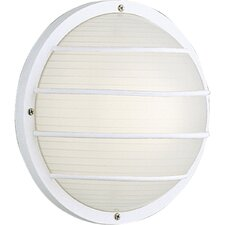 Polycarbonate Round Incandescent 1 Light Outdoor Flush Mount with Grill