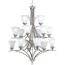 Trinity Fifteen Light Three Tier Chandelier in Brushed Nickel