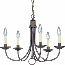 Brushed Nickel Light 5 Light Candle Light Chandelier