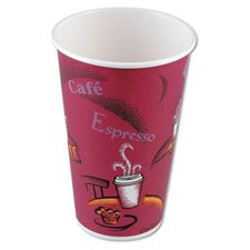 Hot Drink Polylined Paper Cups Bistro Design in Maroon