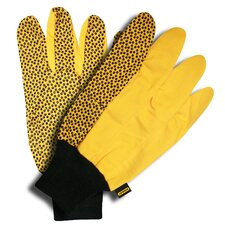 Canvas Gloves with PVC Dots and Knit Wrist
