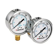 <strong>Weksler</strong> Liquid Filled Gauges w/Stainless Steel Case - 2 1/2in 0/60 psi lqd fill ss-1/4in bc