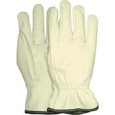 Medium White Grain Goatskin Unlined Gunn Cut Drivers Gloves With Keystone Thumb And Bound Hem