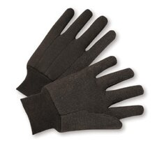 Men's Brown Jersey Gloves With Knit Wrist And PVC Dots