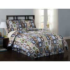 Square Dot Queen Comforter Set with Bonus Pillows