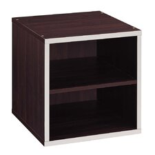 Quadrant Two Tier Storage Cube in Espresso with Silver Trim