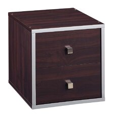 Quadrant Two Drawer Cube in Espresso with Silver Trim