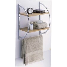 Two Tier Wood Mounting Shelf with Towel Bars in Natural / Chrome