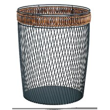 Wire with Bead Trim Wastebasket in Black