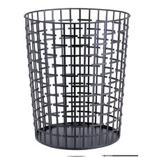 Slice Alternation Round Wastebasket in Black