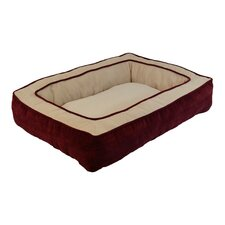 Chevron Chenille Gusset Low Bumper Floor Bolster Dog Bed