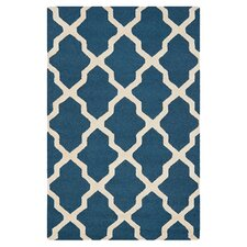 Cambridge Lattice Navy Blue/Ivory Area Rug