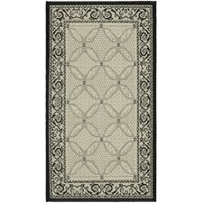 Courtyard Ivory/Black Border Outdoor Rug