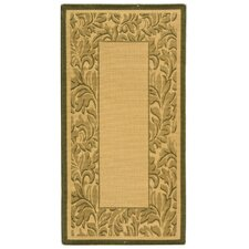 Courtyard Neutral Floral Border Outdoor Rug
