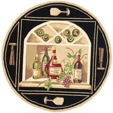 Chelsea Black Wine Cellar Novelty Area Rug