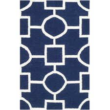 Dhurries Navy/White Area Rug