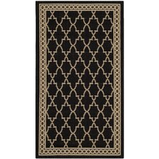 Courtyard Black & Sand Checked Rug