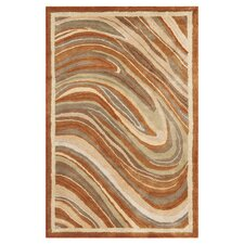 Martha Stewart Marble Swirl Oct Leaf Red Geometric Rug